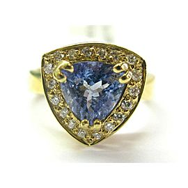 18K Yellow Gold Tanzanite & Diamond Ring Size 8