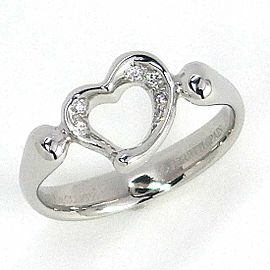 Tiffany & Co. Platinum Open Heart Diamond Ring Size 5
