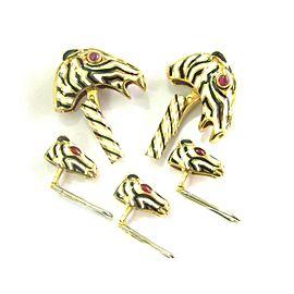 David Webb 18K Yellow Gold Ruby Enamel Horse Cufflinks & Shirt Stud Set
