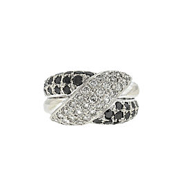 18k White Gold Black and White Diamond Pave Ring Approx. 1.50 TCW