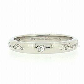 Tiffany & Co. Platinum Notes Lucida 3 Point Diamond Ring Size 5.75