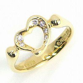Tiffany & Co. 18K YG Open Heart Diamond Ring Size 4.25