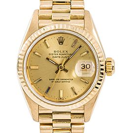 Rolex Datejust 69178 Womens Automatic Watch Champagne Dial 18K YG 26mm