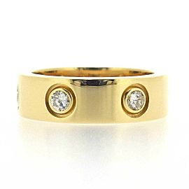 Cartier 18K YG Love Full Diamond Ring Size 4.5