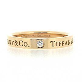 Tiffany & Co. 18K RG Flat Band 3 Point Diamond Ring Size 6.25