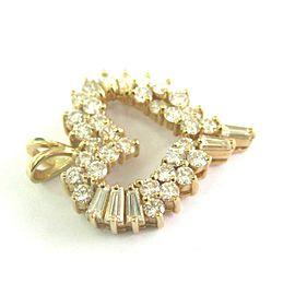 14K Yellow Gold Round & Baguette Diamond Heart Pendant