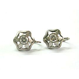14k White Gold Diamond Vintage Earrings