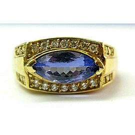 18K Yellow Gold Marquise Tanzanite & Diamond Yellow Gold Ring Size 12