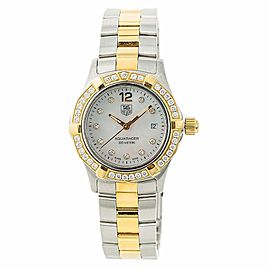 Tag Heuer Aquaracer WAF1450 Womens Quartz Watch Mop Dial Two Tone Diamond 27mm