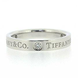 Tiffany & Co. Platinum Flat Band 3 Point Diamond Ring Size 4.25