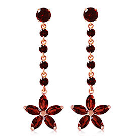 14K Solid Rose Gold Chandelier Earrings with Garnets