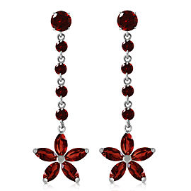 4.8 CTW 14K Solid White Gold Reaching Across Garnet Earrings