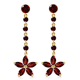 4.8 CTW 14K Solid Gold Stardrop Garnet Earrings