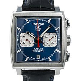 Tag Heuer Blue Monaco CW2113-0 Mens Automatic Watch Chronograph SS 38mm