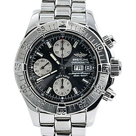 Breitling Superocean A13340 Black Mens Automatic Watch Chronograph SS 42mm