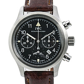 IWC Pilot IW3741-01 Mens Quartz Watch Chronograph Black Dial SS 36mm