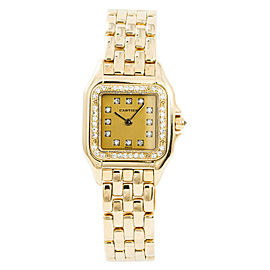 Cartier Panthere 8057915 Womens Quartz Watch Factory Diamond 18K YG 22mm