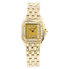 Cartier Panthere 8057915 Womens Quartz Watch Factory Diamond 18K YG 22mm