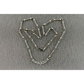 "Scott Kay Diamond Pendant Necklace Platinum Bar Link .83ct 7 stone Bezel 16"""