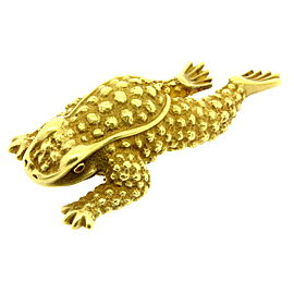 "Kieselstein Cord 3"" Large Frog Pin Brooch 18k Gold Heavy 63.5g 1991"