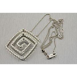 Roberto Coin Square Swirl Diamond Pendant Necklace 1.20ct 18k White Gold Rare