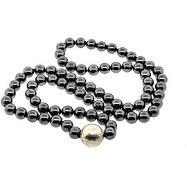 Tiffany & Co. Paloma Picasso Hematite Bead Chain Necklace Sterling Silver 30""