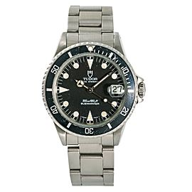 Tudor Prince Date Submariner 75090 Mens Automatic Watch Black Dial SS 36mm