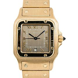Cartier Santos 887901 Unisex Quartz Watch 18K Yellow Gold Gray Dial 29mm