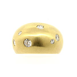 14k Yellow Gold Domed Diamond Ring Band 1ct+ Bezel Drill Set Modern sz 9