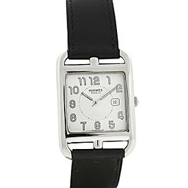 HERMÈS Cape Cod Stainless Steel & Leather Double-Wrap Black Watch