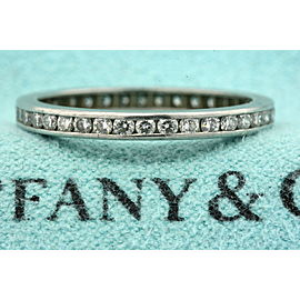 Tiffany & Co. Platinum Diamond Eternity Ring Band Channel Set Vintage sz 5.25