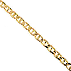 14k Yellow Gold Men's Solid Mariner Chain Bracelet