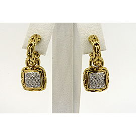 John Hardy Classic Chain Earrings Diamond 18k Gold Dangle Drop