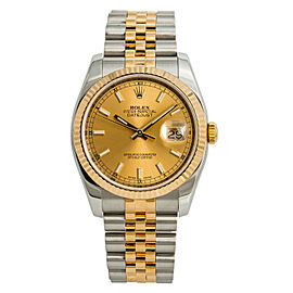Rolex Datejust 116233 Mens Automatic Watch Champagne Dial 18k Two Tone 36mm