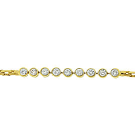 14k Yellow Gold 9 Diamond Bezel Set Link Bracelet Approx .60 TCW
