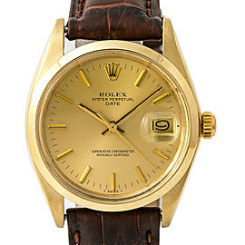 Rolex Date 1500 Men's Automatic Watch 14K Yellow Gold Leather Band 34MM