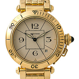 Cartier Pasha Vintage 820907 Mens Automatic Watch Off-White Dial 18K Gold 38mm