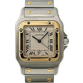 Cartier Santos Galbee 187901 Mens Quartz Watch 18k Two Tone W/Papers 29mm