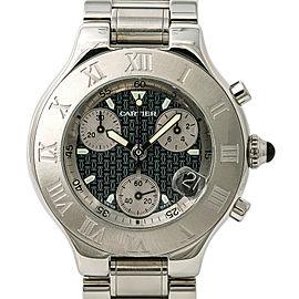 Cartier 21 Chronoscaph 2424 W10125U2 Mens Quartz Watch SS 38mm