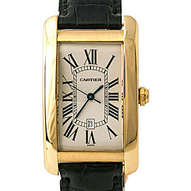 Cartier Tank Americaine 1740 W2603156 Large Mens Automatic Watch 18K YG 27mm