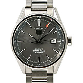 Tag Heuer Carrera Twin-Time WAR2012 Men's Automatic Watch Stainless Steel 40MM