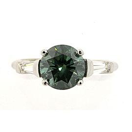 2ct Round Teal Blue Green Diamond Engagement Ring Baguette Platinum sz 6