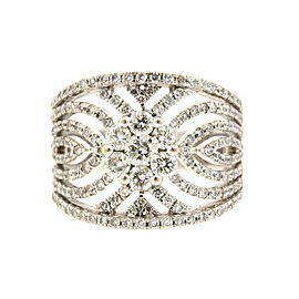 Effy Open Filigree 1.50ctw Diamond Ring Wide Band 14k White Gold sz 7.25