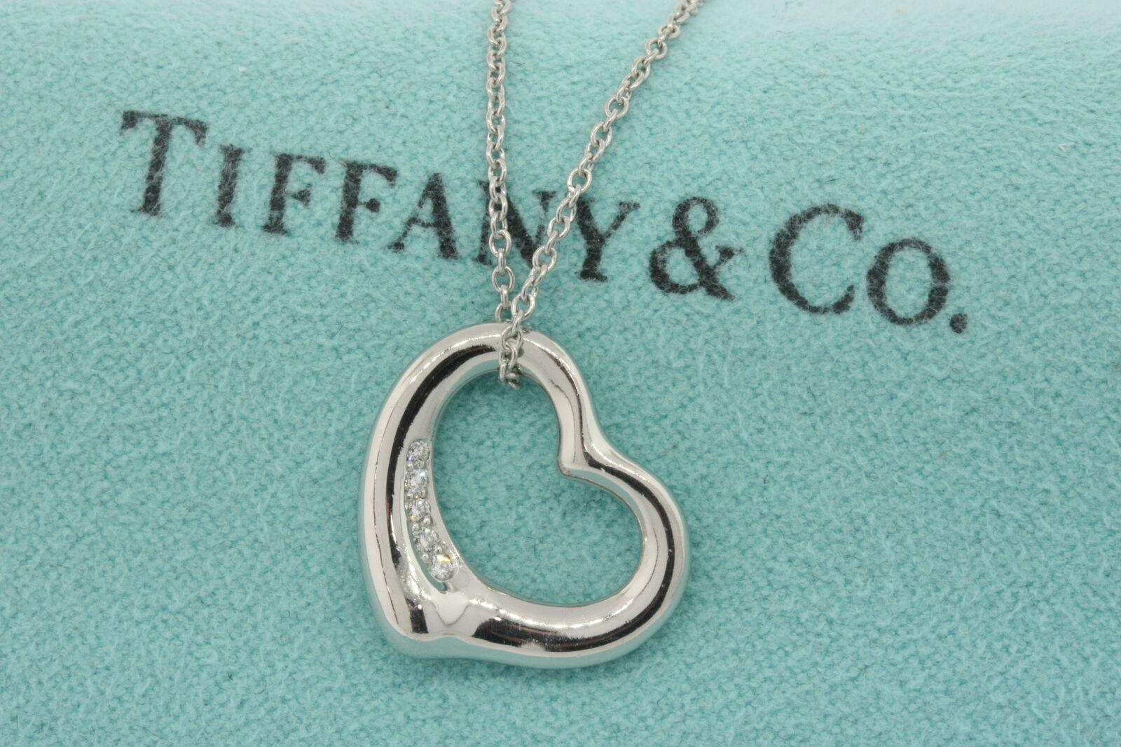 ca1c9275e437b Tiffany & Co. Elsa Peretti Diamond Open Heart Pendant Platinum Small 16