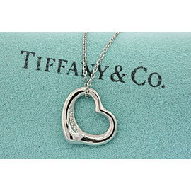 "Tiffany & Co. Elsa Peretti Diamond Open Heart Pendant Platinum Small 16"" Chain"
