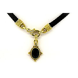 "Judith Ripka 18k Diamond Onyx Pendant Enhancer Necklace Black Cord 16"" Choker"