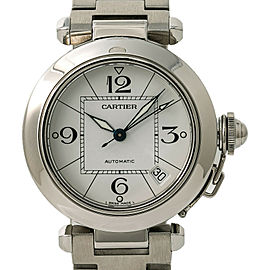 Cartier Pasha 2324 W31015M7 Unisex Automatic Watch White Dial SS 35mm