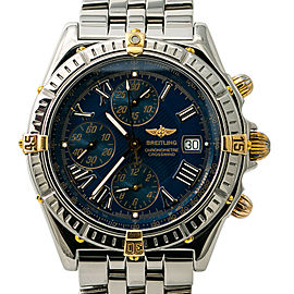 Breitling Crosswind B13355 Blue Dial Mens Automatic Watch Chronograph SS 43mm