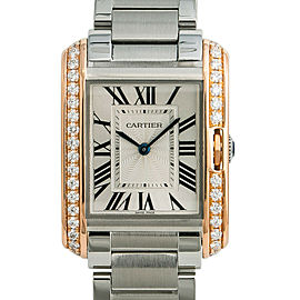 Cartier Tank Anglaise 3827 W3TA0003 Diamond Womens Quartz Watch 18k Rose Gold