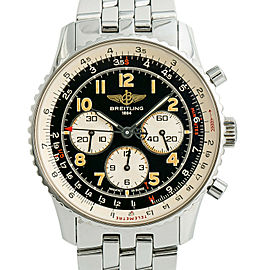 Breitling Navitimer A30022 Vintage Mens Automatic Watch Chronograph SS 38mm